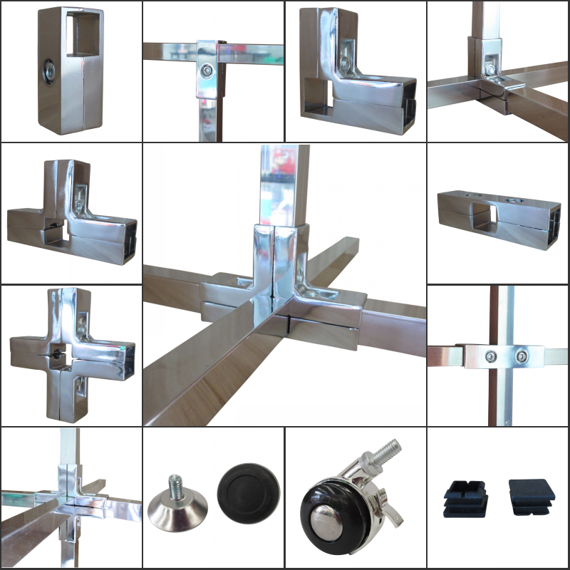 Home rhyme 25 square stainless steel pipe fittings exhibition frame  fastener fittings shelf fasteners two-way tee