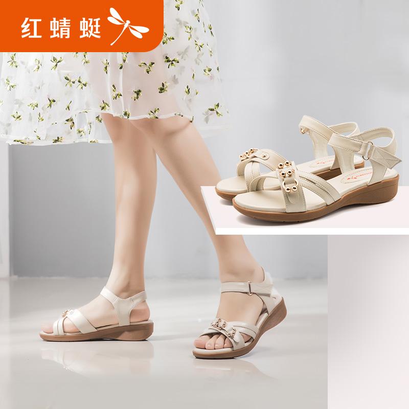红蜻蜓女鞋2019夏季新款坡跟妈妈鞋百搭一字扣带舒适休闲平底凉鞋