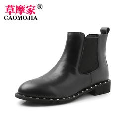 新款短靴女铆钉女单靴百搭马丁靴平底靴