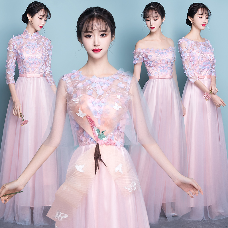 4f05501c6532 Pink bridesmaid dress 2019 new short sisters skirt Korean banquet party  small evening dress dress female long section