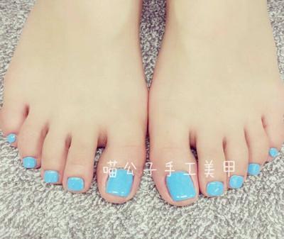 美甲成品 纯色脚趾甲 手工光疗甲片成品新娘写真脚趾甲贴片