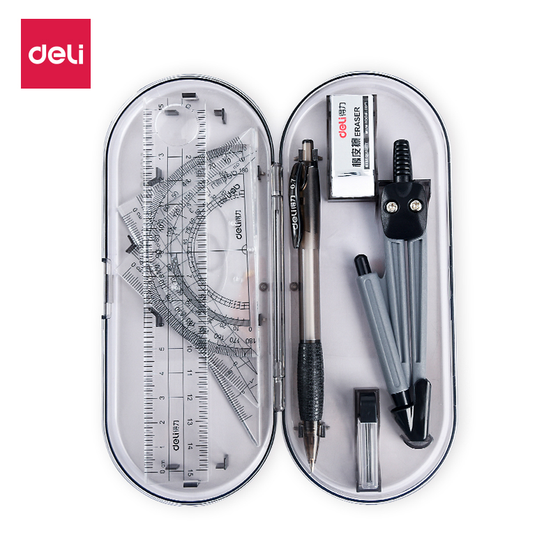 USD 5.43] Deli Compass students multi-function drawing sets foot ...