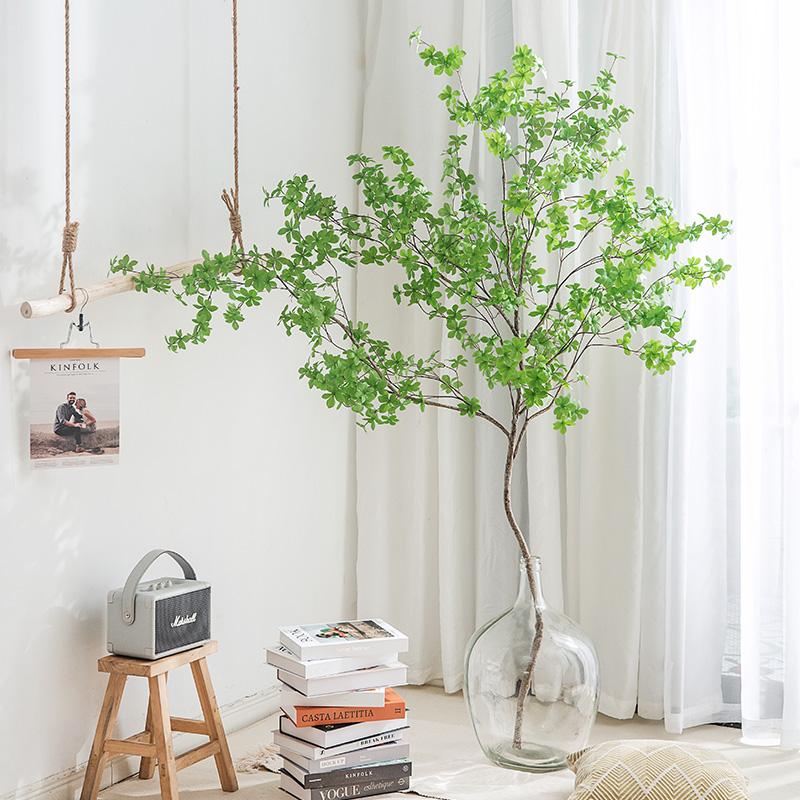 北欧ins风仿真植物仿生假绿植落地盆栽装饰日本吊钟马醉木假树枝