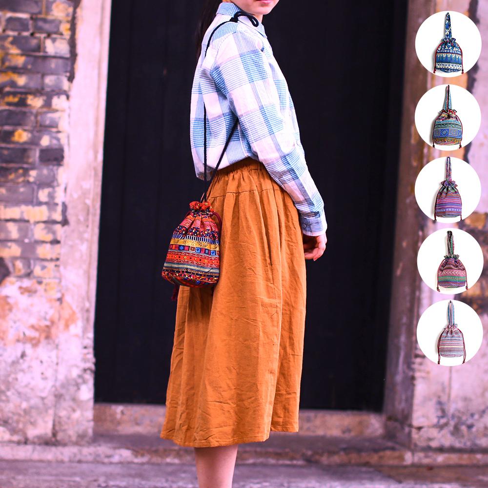 小水桶手拿手拎单肩斜挎女士文艺民族布包风零钱包印花迷你妈咪包