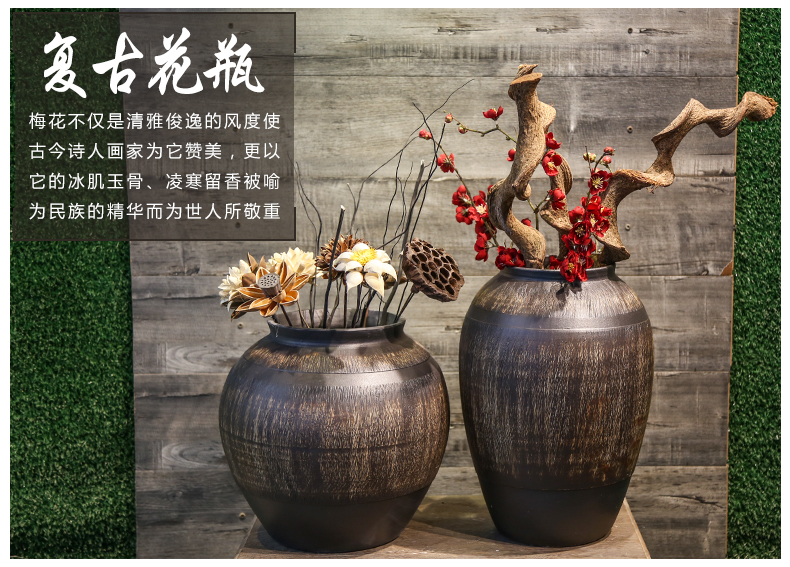 Mesa of jingdezhen retro nostalgia coarse pottery vase decoration to window shop furnishing articles villa living room simulation flower implement