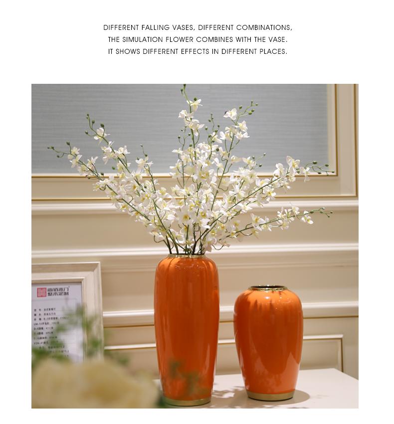 Light European - style key-2 luxury modern creative living room TV cabinet ceramic vase furnishing articles dried flower flower arranging flower implement porch decoration