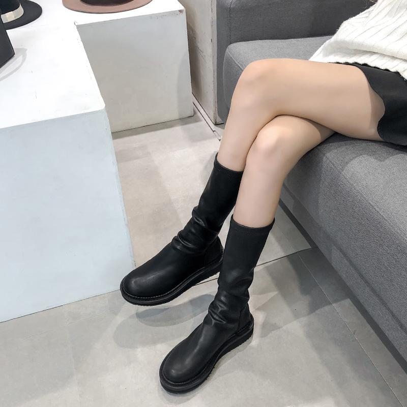 2018秋冬新款网红瘦瘦靴短靴女平底不过膝长靴圆头长筒靴子马丁靴
