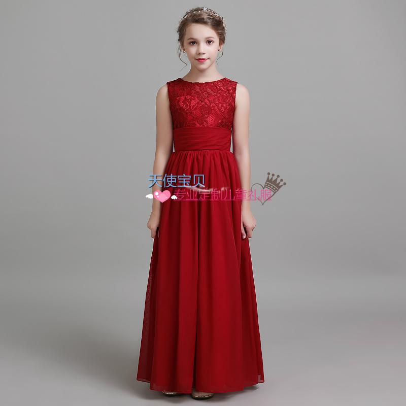 新款酒红色背心裙大女童显瘦镂空小提琴演出服女童伴娘礼服主持服
