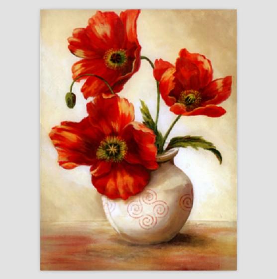欧式微喷静物花卉花瓶手绘风格油画画芯装饰画画心画布照片墙素材