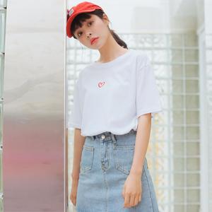 862小视频+实拍ins百搭短袖T恤上衣女 甜美爱心刺绣夏季...