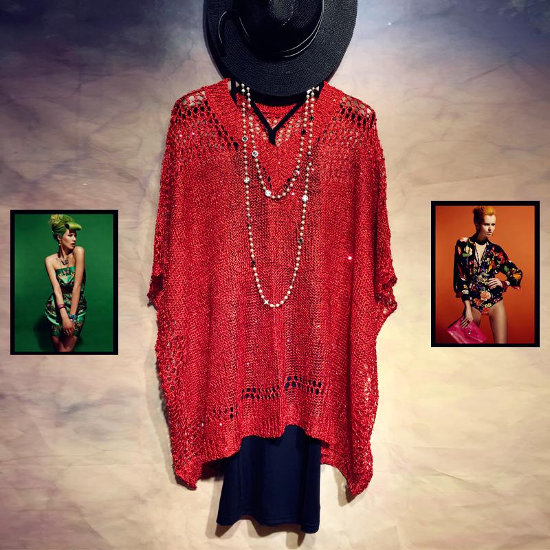 芬茨2016秋夏季短袖韩版高领无袖半高领套头女宽松薄款羊毛针织衫