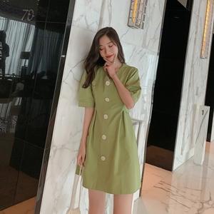 實拍 夏季網紅智熏裙法式高腰V領連衣裙氣質顯瘦復古綠流行裙子