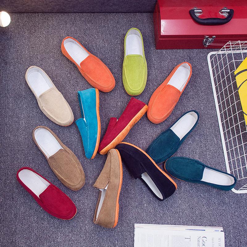 Old Bắc Kinh giày vải nữ mùa xuân và mùa thu Hàn Quốc phiên bản đáy phẳng một chân peas giày đáy mềm giày thường giày vải phụ nữ
