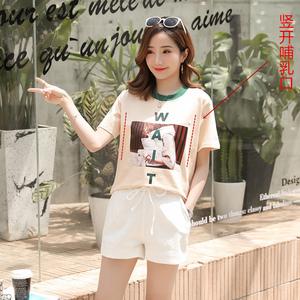 【實拍】哺乳套裝夏季2019新款時尚款寬松上衣短袖短褲兩件套