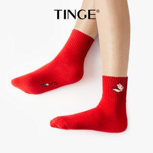4双属猪本命年踩小人女士短袜猪年保暖棉袜女秋冬加厚红色袜