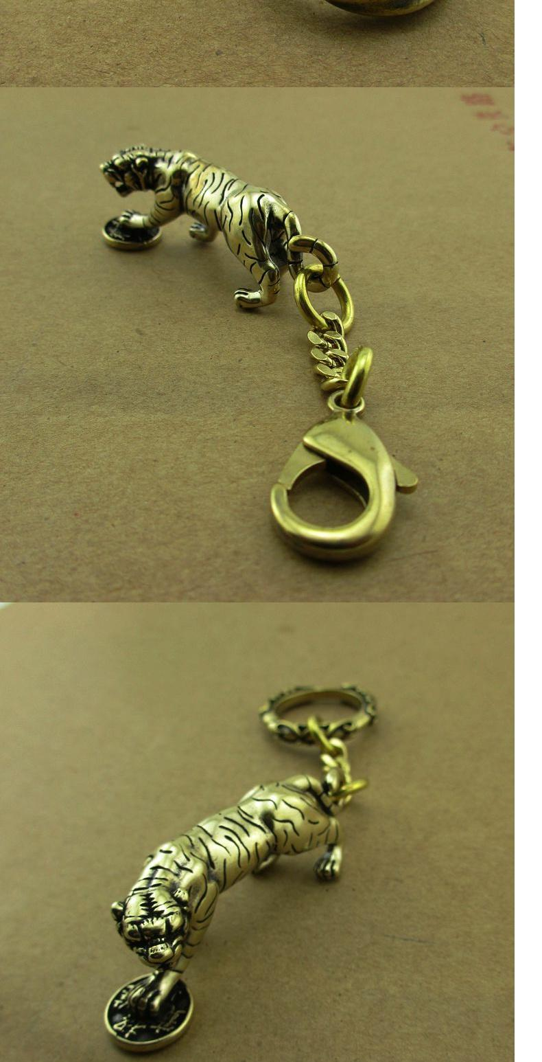 纯黄铜十二生肖虎挂件汽车钥匙扣吊坠老虎头箱包皮具饰品生日礼物商品详情图