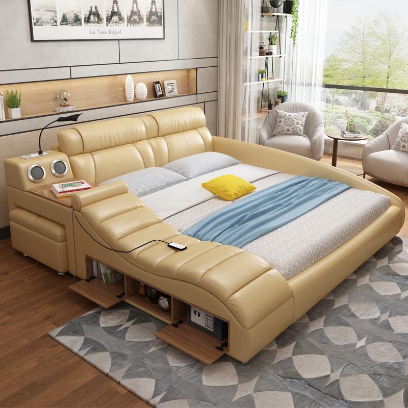 Leather bed smart massage modern minimalist tatami bed ...