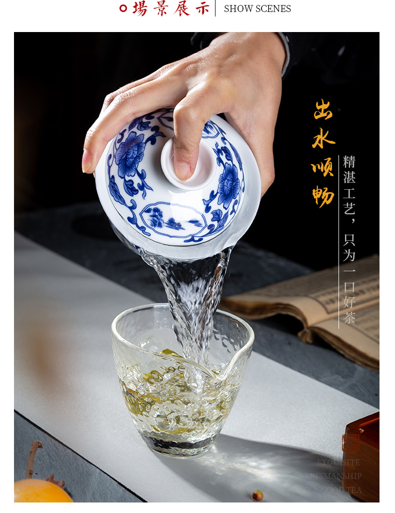 , only three tureen ceramic cups domestic large bowl of blue and white porcelain tea set tea bowl to bowl is not hot