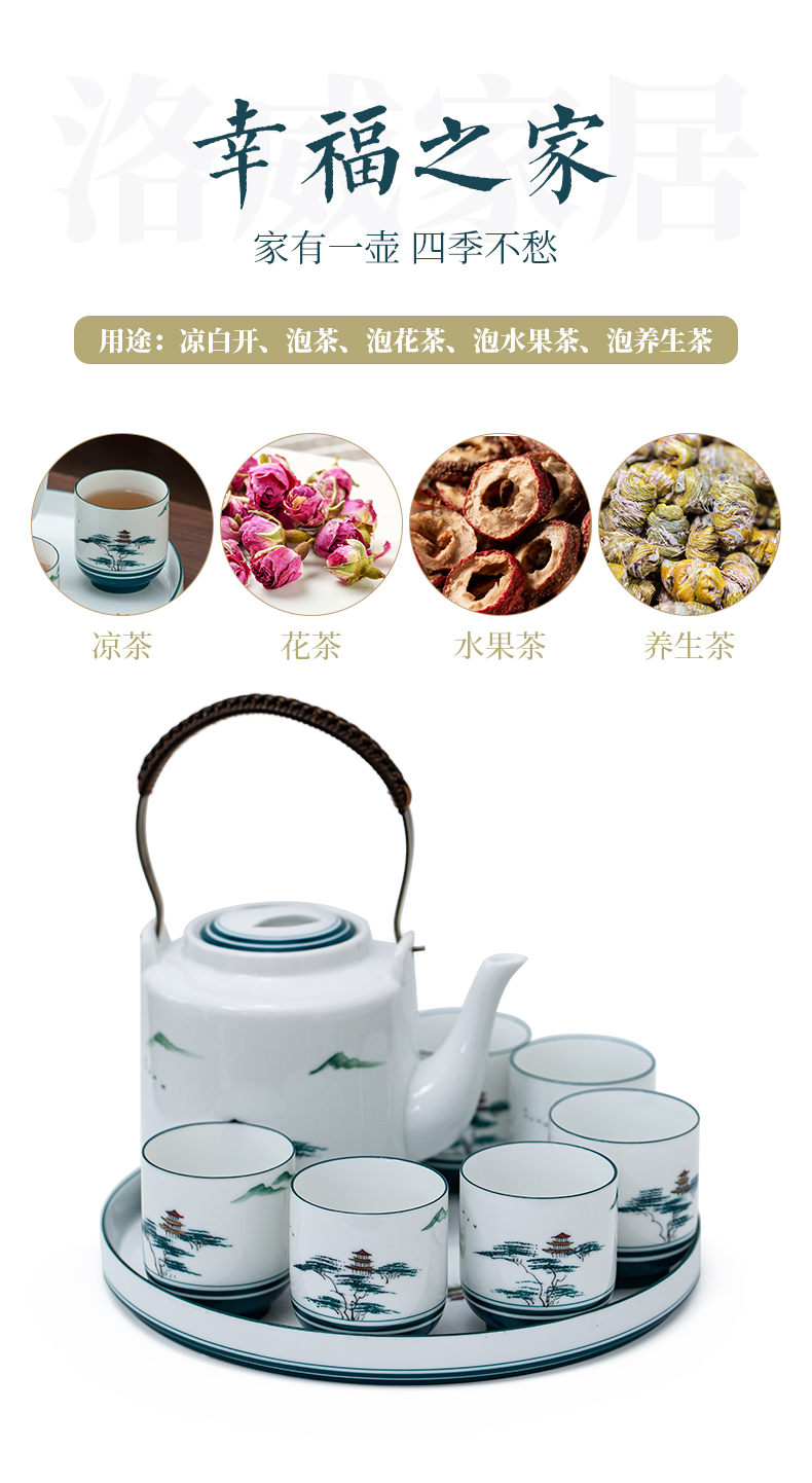 New hand - made ceramic Chinese landscape make tea tea set home sitting room is contracted teapot teacup tea tray
