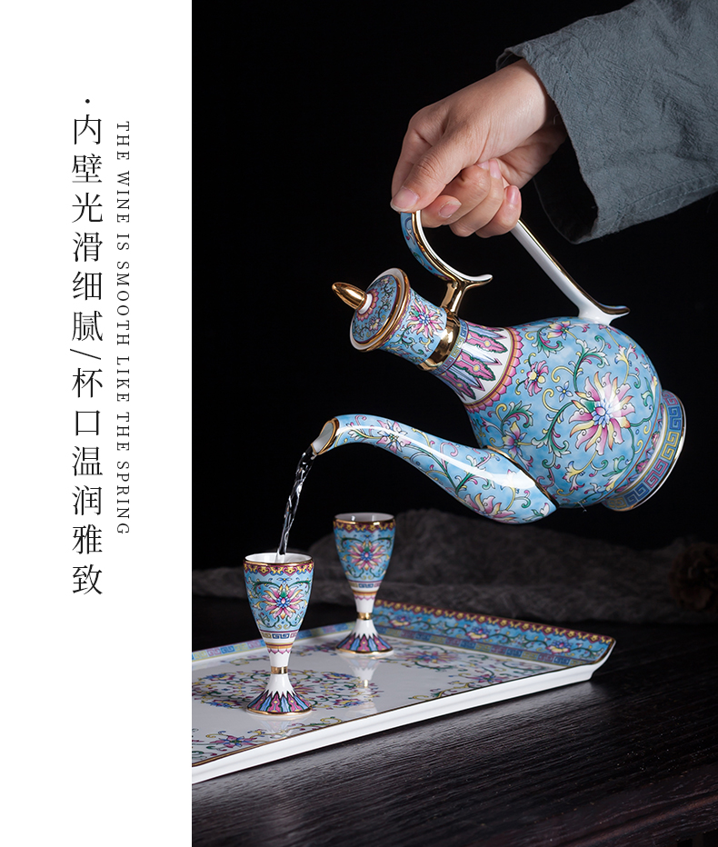 Blower, wine package high - grade enamel see colour white wine cup household of Chinese style small a small handleless wine cup Chinese wind ceramic wine