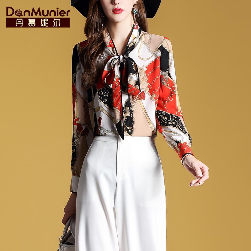 丹慕妮尔蝴蝶领结雪纺衬衫女长袖2019春季新款气质印花上衣12109