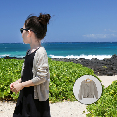 Korean version of the parent-child girl in the large girls and girls summer jacket sunscreen solid color knitted ice silk cardigan thin section mosquito shirt