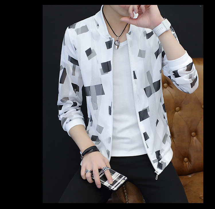 Playboy 2018 Summer Men Jacket Hàn Quốc xu hướng Sun Protection Slim Jacket nam Openwork Sun Protection