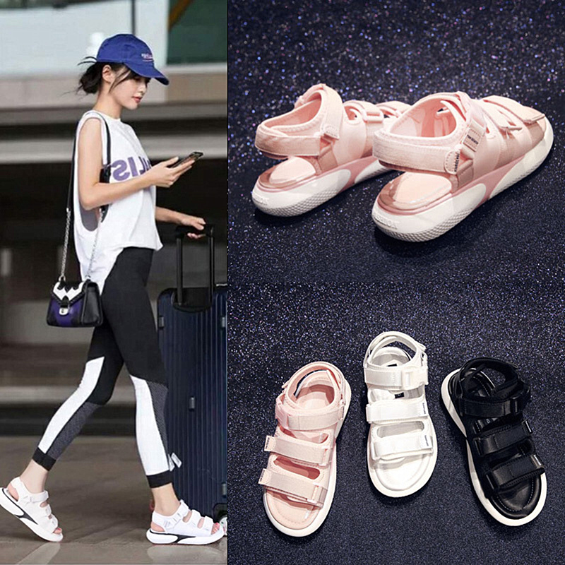Sports sandals female students 2018 new Korean version of the wild magic chic flat net red ins beach shoes summer