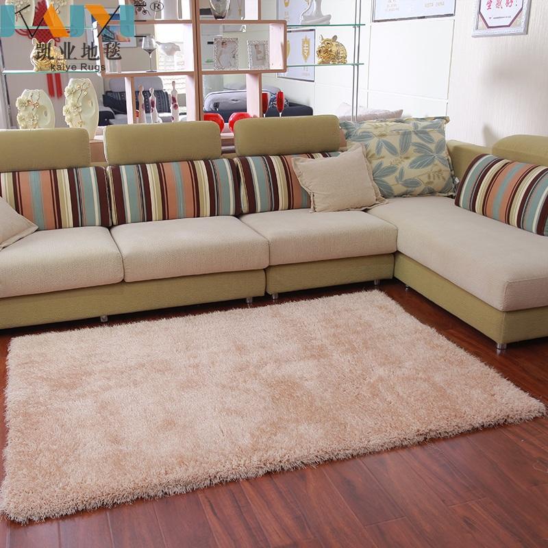 凯业地毯客厅卧室床边纯色加厚加密简约现代风防滑弹力丝地毯定制