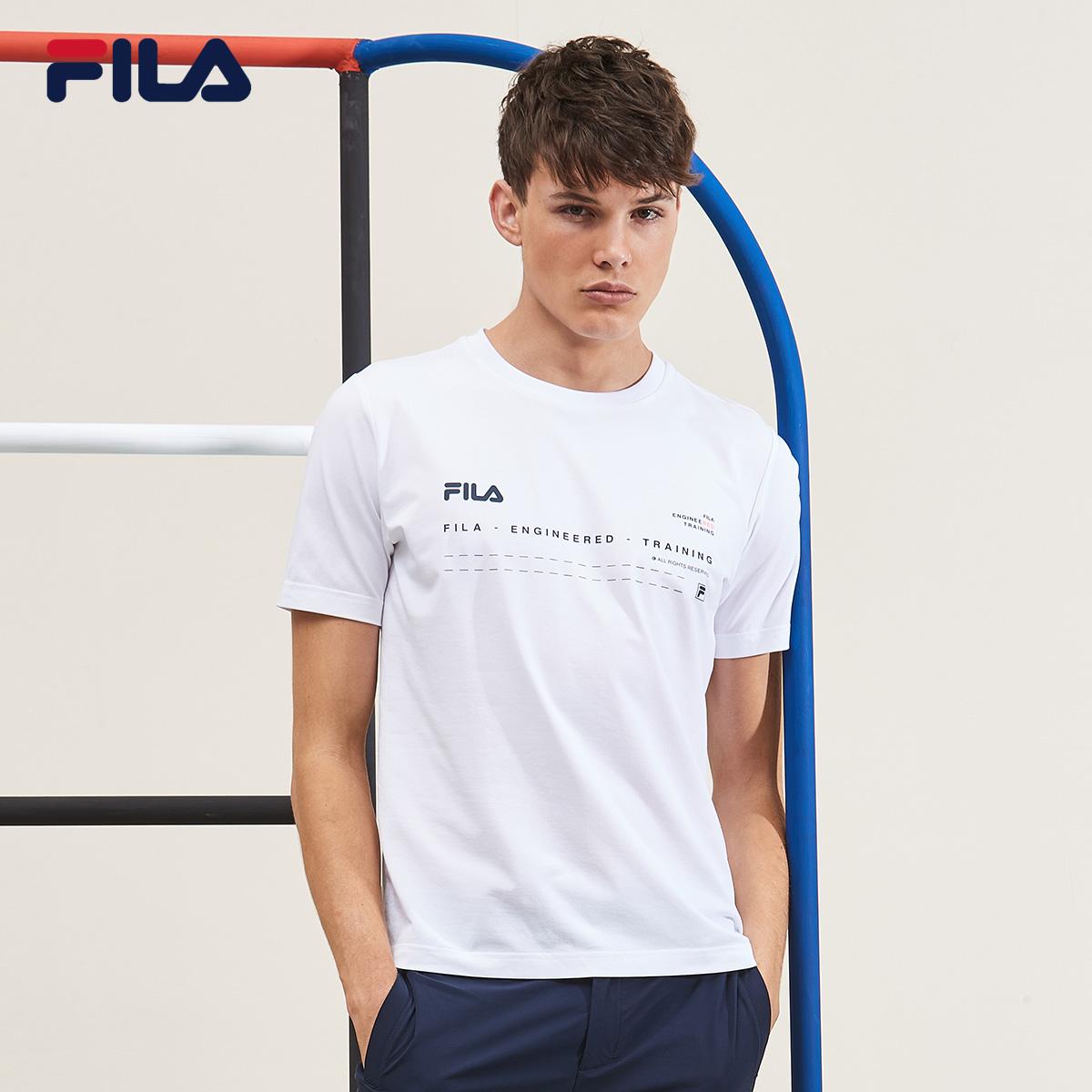 Áo thun nam tay ngắn của Fila Fila mùa thu 2019 mới thể thao thoáng khí đơn giản màu trắng áo thun thể thao - Áo phông thể thao