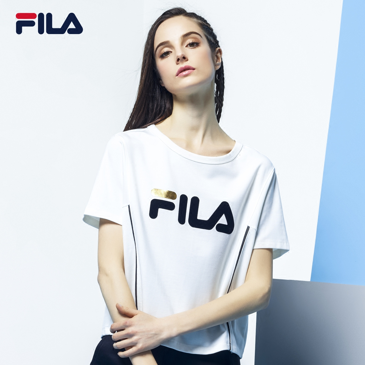 552937408aea FILA Fei Music female Short t spring new large F LOGO sports short-sleeved  T-shirt female) 26733128