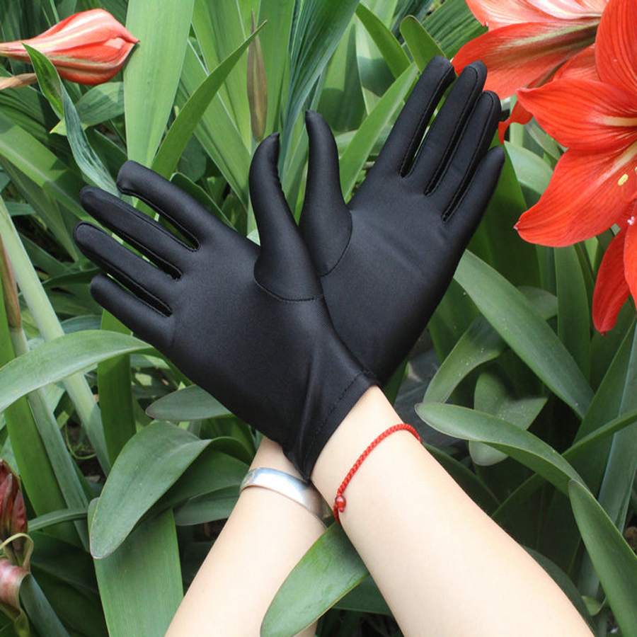 e09557a2c15d7 Spandex gloves spring and summer men and women white etiquette ...