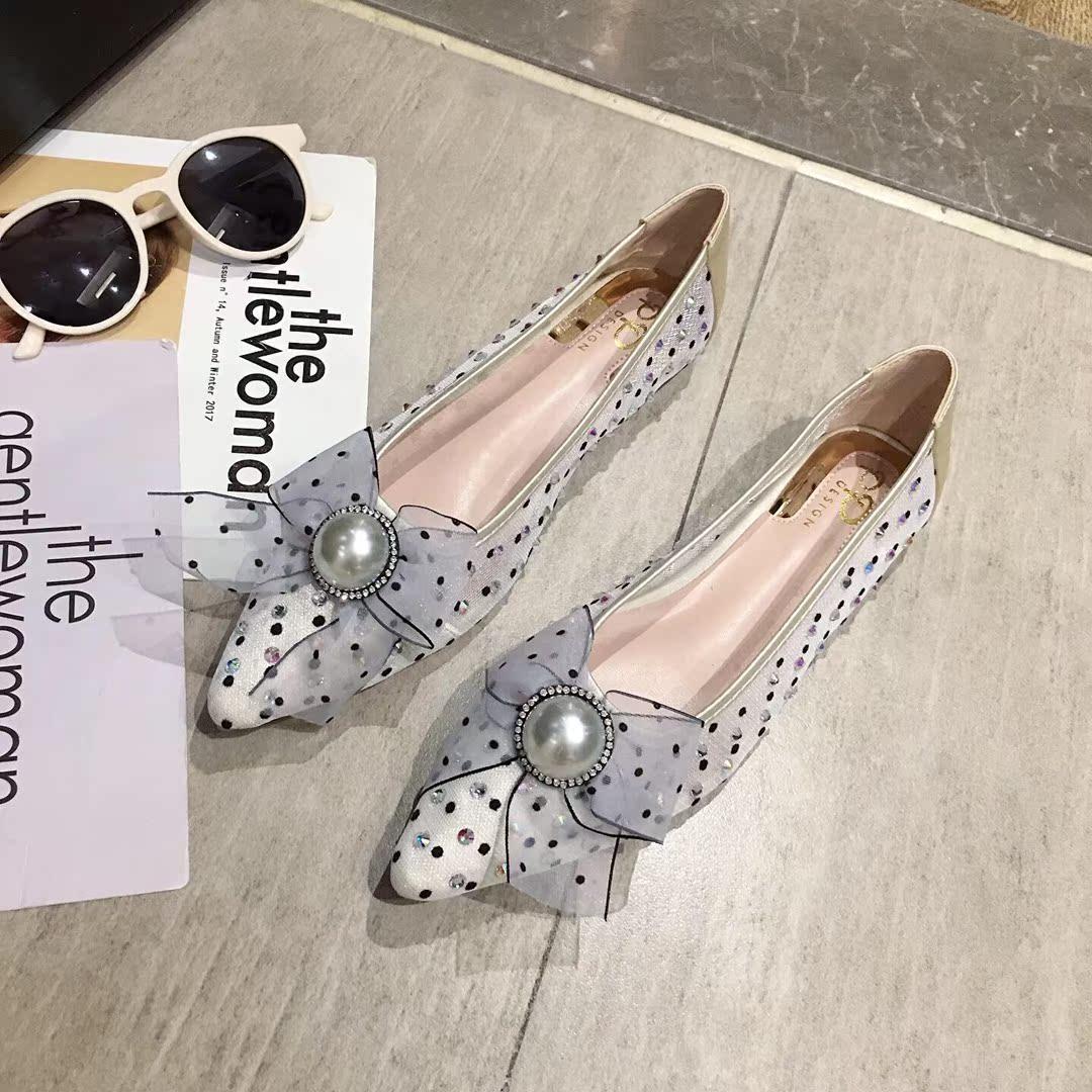 2019新款夏季女鞋a女鞋珍珠单鞋仙女网纱透气舒适平底水钻女尖头风