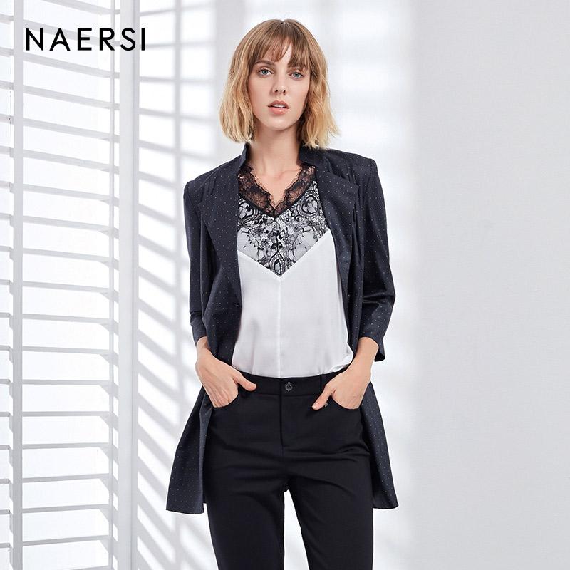 NAERSI-娜爾思2018商場同款 西裝領七分袖收腰波點中長款風衣外套
