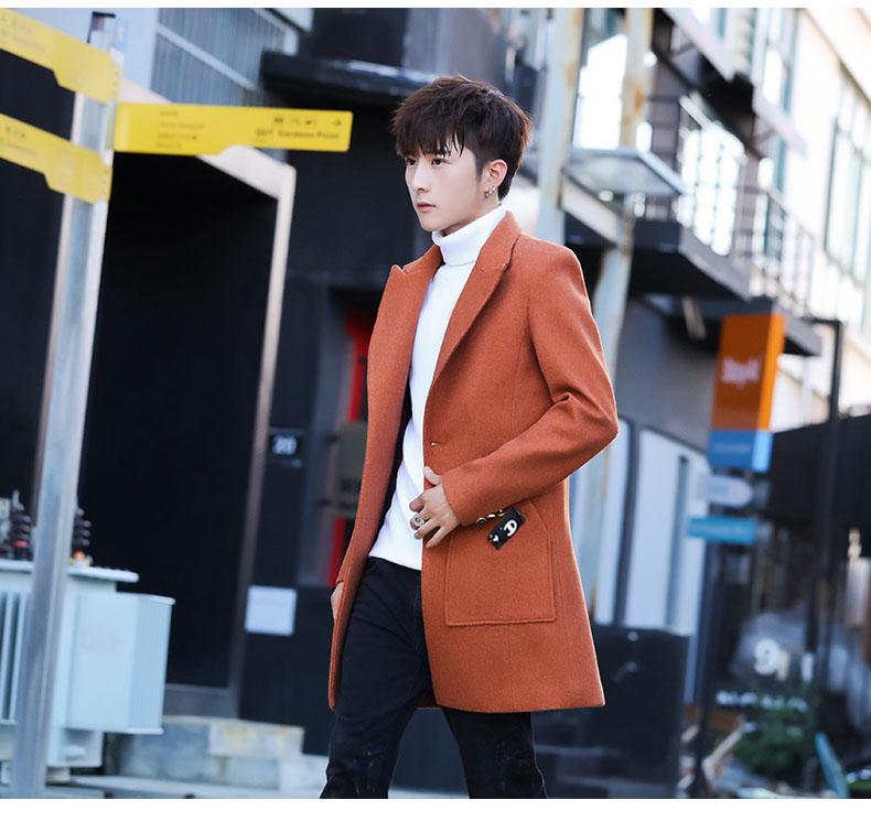 Men's wool coat in the long hair coat men's youth Korean version of the trend Chunqiu Nizi windshield man 62 Online shopping Bangladesh