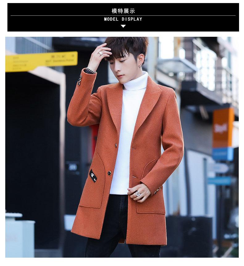 Men's wool coat in the long hair coat men's youth Korean version of the trend Chunqiu Nizi windshield man 61 Online shopping Bangladesh