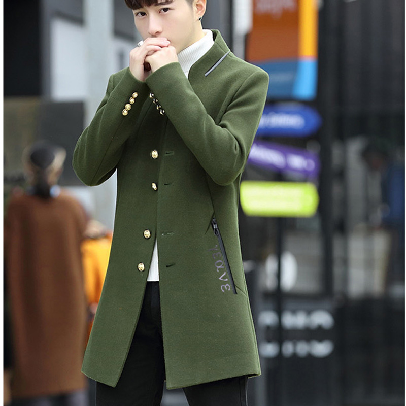 Men's wool coat in the long hair coat men's youth Korean version of the trend Chunqiu Nizi windshield man 51 Online shopping Bangladesh