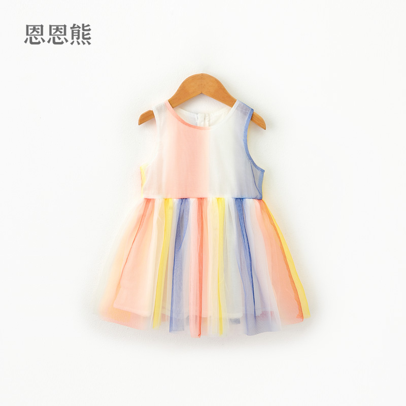 Female baby dress summer 2019 new vest princess dress small children color foreign girls rainbow skirt