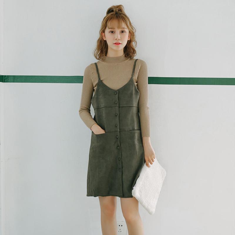 秋冬季韩版学院风鹿皮绒吊带连衣裙女宽松显瘦中长款背带裙背心裙
