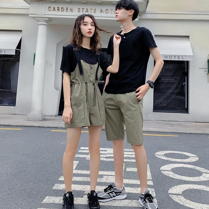 情侣装件套2019新款ins不一样的T恤裙子夏装气质两套装小众v件套感