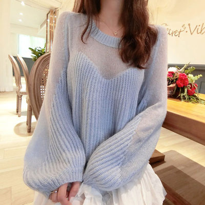 The new and very fairy soft waxy wool sweater for autumn and winter is gentle and full of loose thin lantern sleeve sweater women