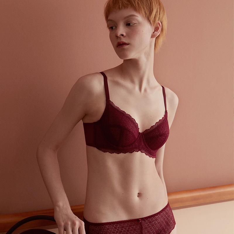 HSIA遐 超薄大码内衣女 性感蕾丝夏季无痕全罩杯薄款大胸显小文胸