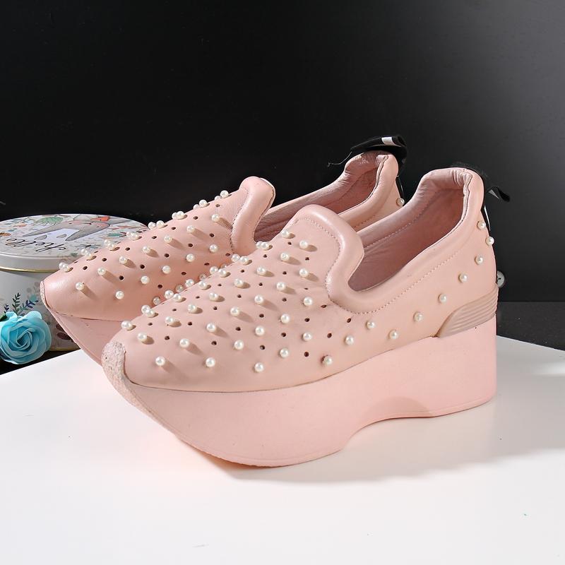 2020 da hoang dã Giày da bò Hàn Quốc Giày đế bằng dày đế dày, bề mặt mềm, thấp, thoáng khí, thoải mái, giày đơn - Giày cắt thấp