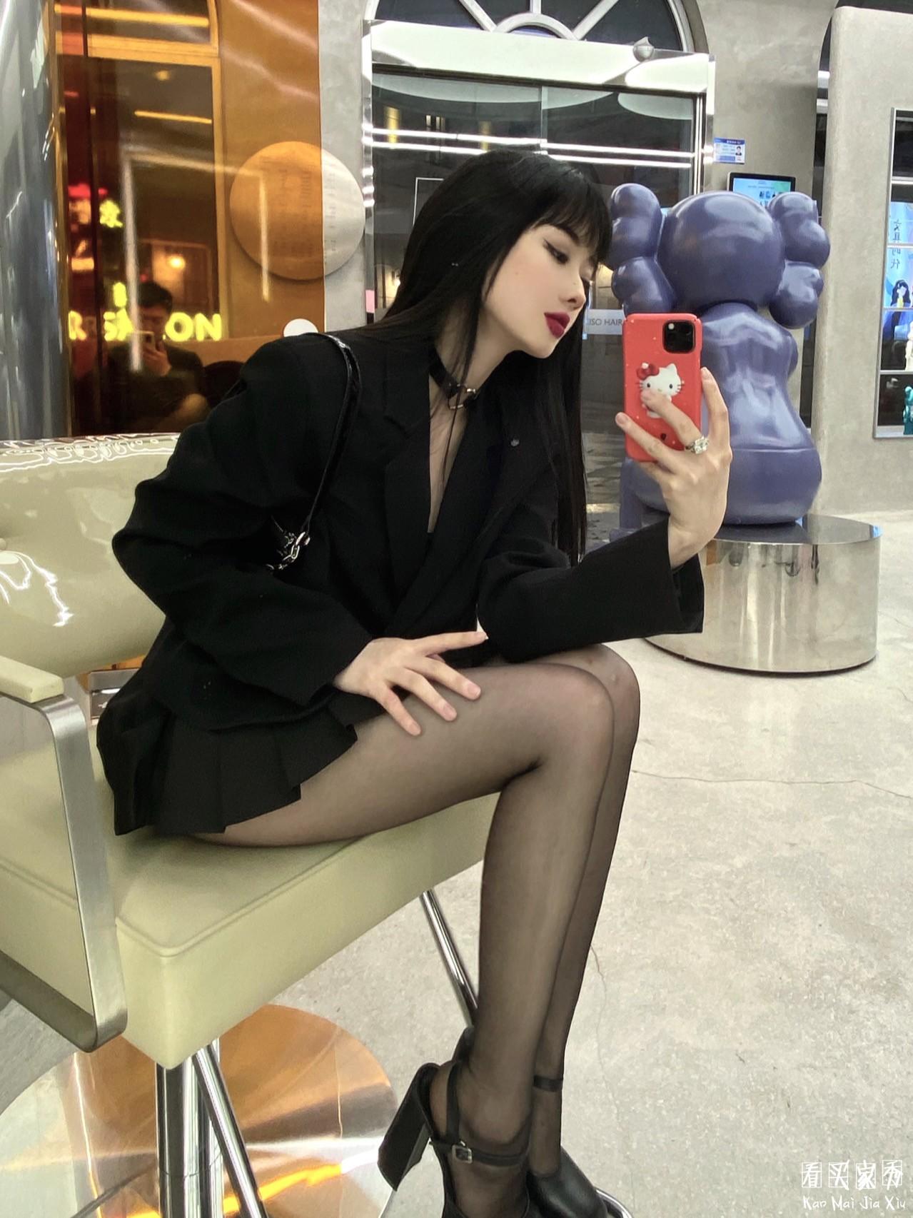 百褶短裙小西装买家秀,黑长直,又辣又可爱5