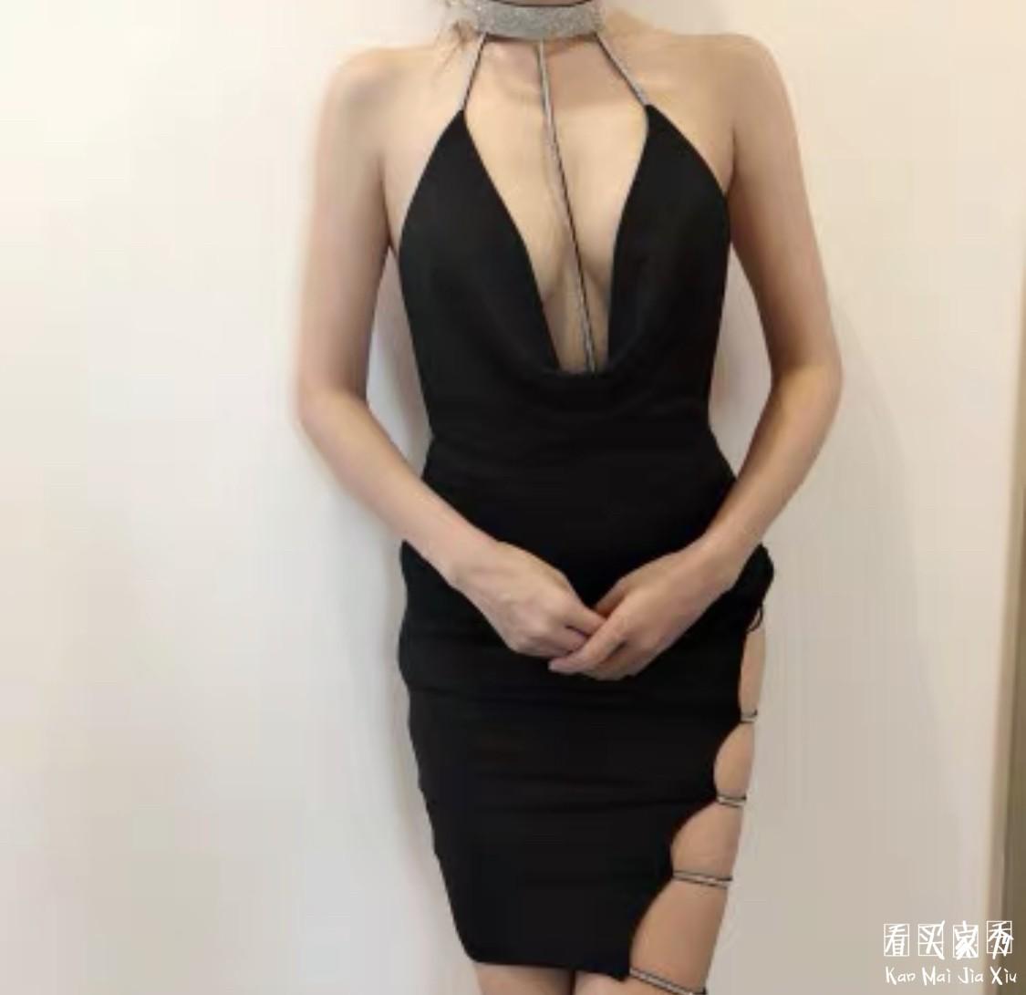 超高腰深V开叉连衣裙买家秀,里面需要穿内衣吗