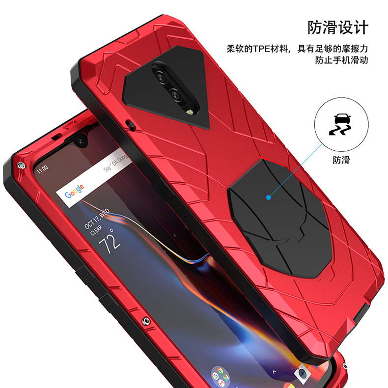 iMatch Water Resistant Shockproof Dust/Dirt/Snow-Proof Aluminum Metal Military Heavy Duty Armor Protection Case Cover for OnePlus 6T