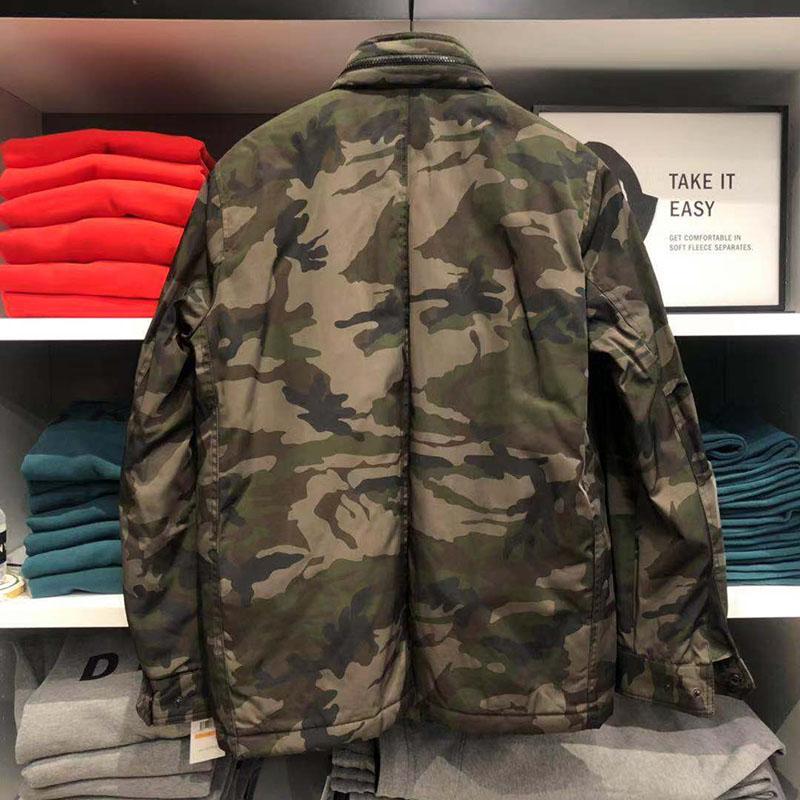 紐約專代美中購物車DKNY唐可娜兒男工裝夾克立領可收帽迷彩多袋棉衣外套秋