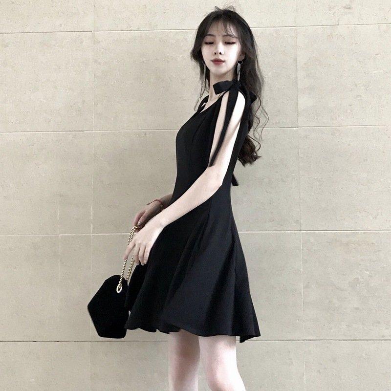 20年新款仙女系带甜美蝴蝶结桔梗英伦风无袖短流行黑色套头连衣裙