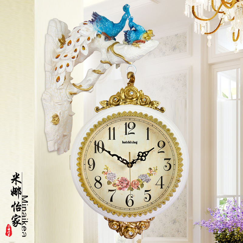 american retro wall clock doublesided clock living room clock creative peacock decoration wall hanging large mute table clock
