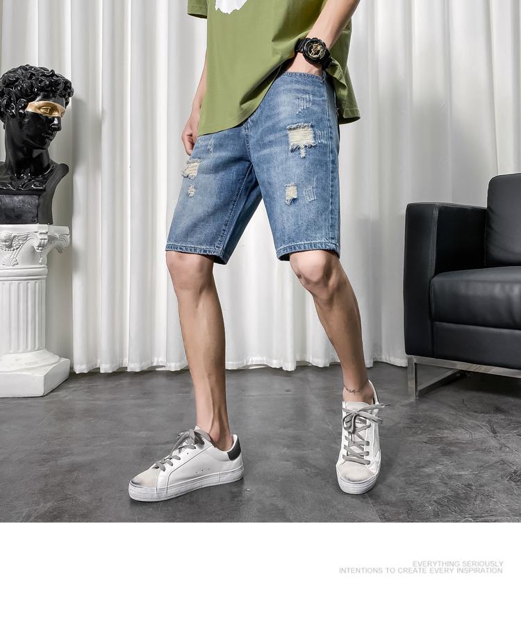 牛仔短裤男破洞修身五分裤社会精神小伙牛仔中裤男休闲 K8771 P55